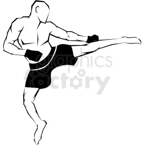 mma fighter side kick vector art clipart. Royalty.