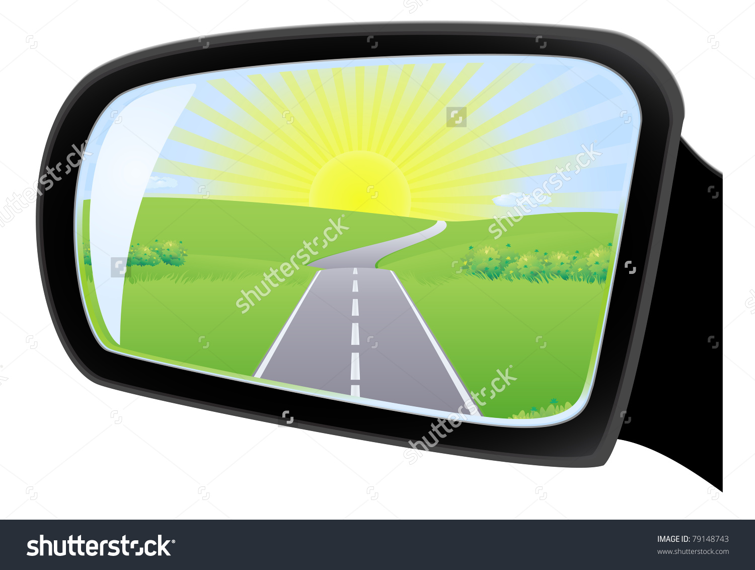 Side Rear View Mirror Automobile Road Stock Vector 79148743.