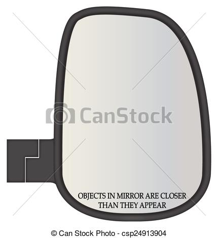 Vector Clipart of Objects In Truck Side Mirror Closer.