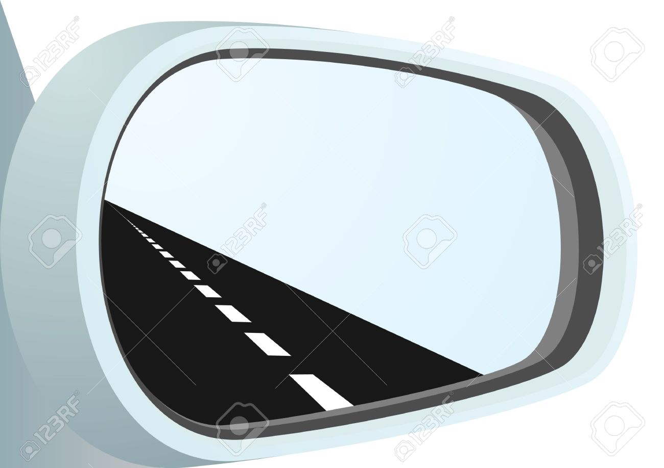 Car Mirror And Is Reflected In It Path Royalty Free Cliparts.