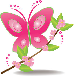 Side Of Butterfly Green Clipart.