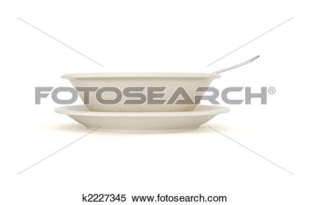 Stock Image of Plain beige soup plate with spoon and saucer side.