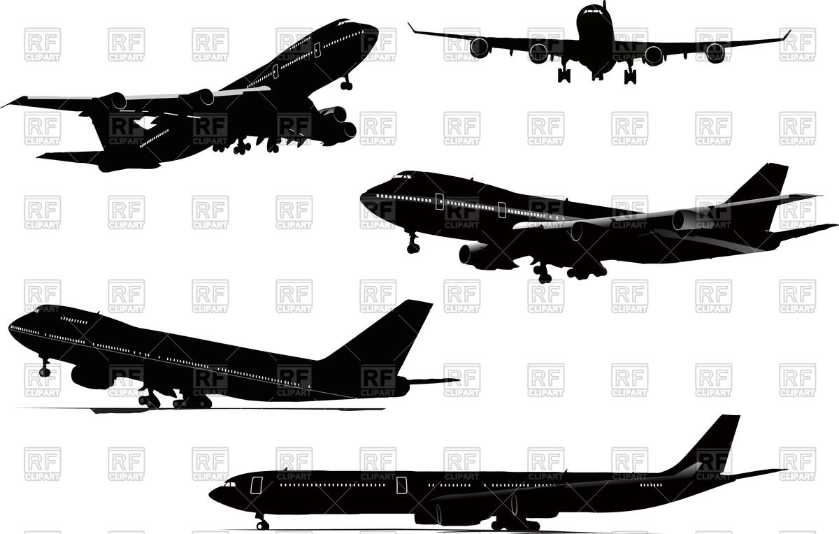 Silhouettes of airplane (take off, landing, on airfield, flying.