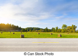Stock Photographs of American Country Road Side View.