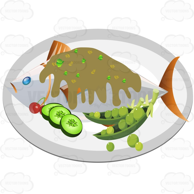 Plate Of Fish With A Gravy Or Sauce On Top And Veggies On The Side.