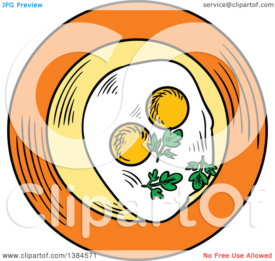 Clipart of a Sketched Plate with Sunny Side up Eggs.