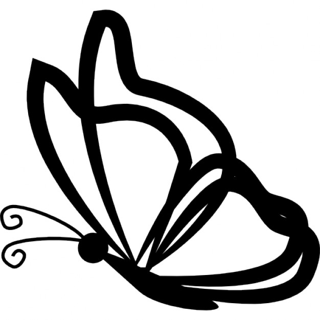 Butterfly with transparent wings outlines from side view Icons.