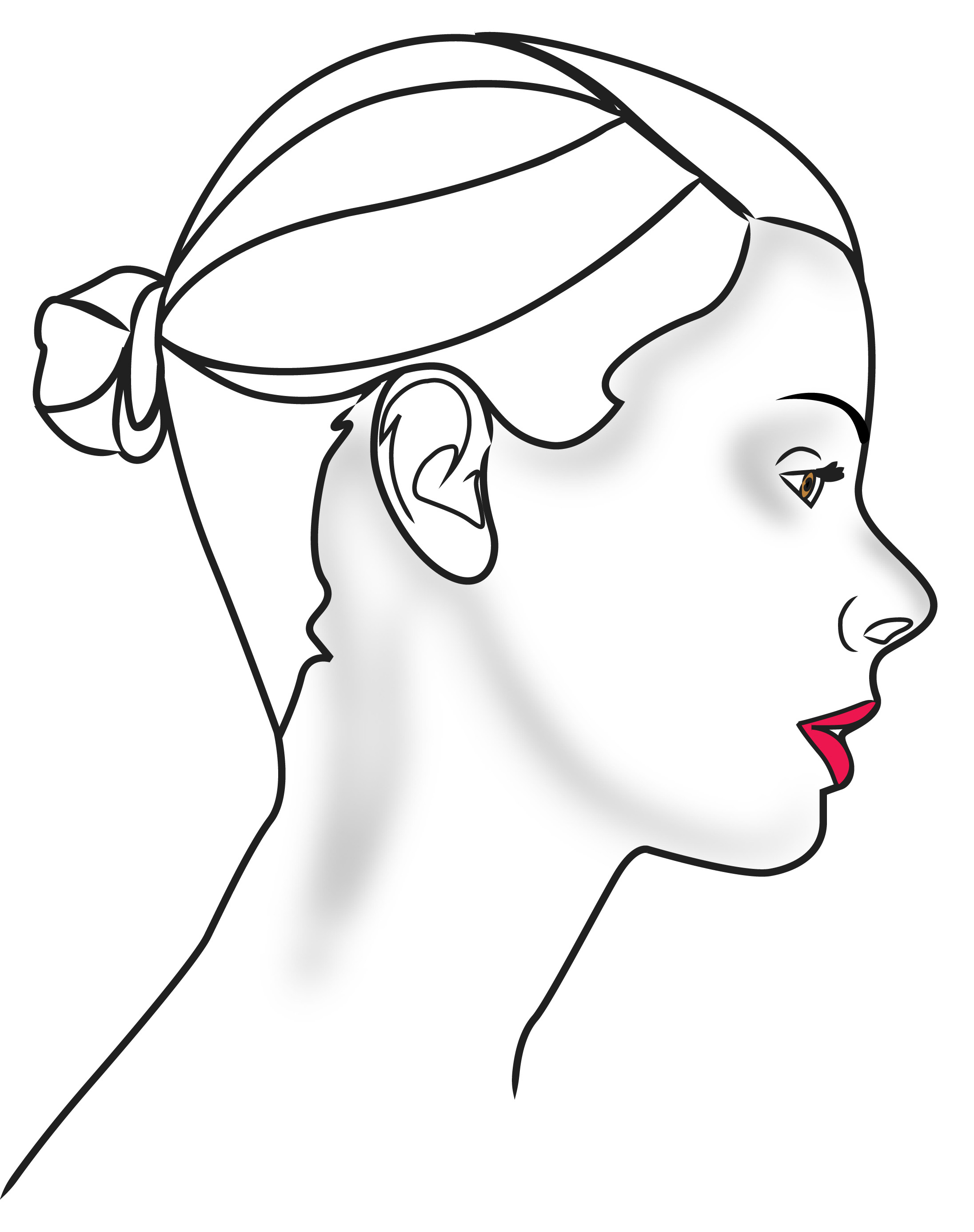 Drawing Face Profile Outline Side Face Clipart (34+).