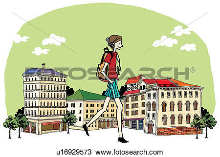 Drawing of Side view of teenage girl walking on street u16929573.