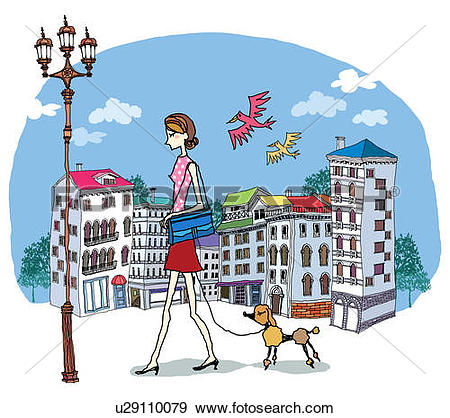 Stock Illustration of Side view of young woman walking on street.