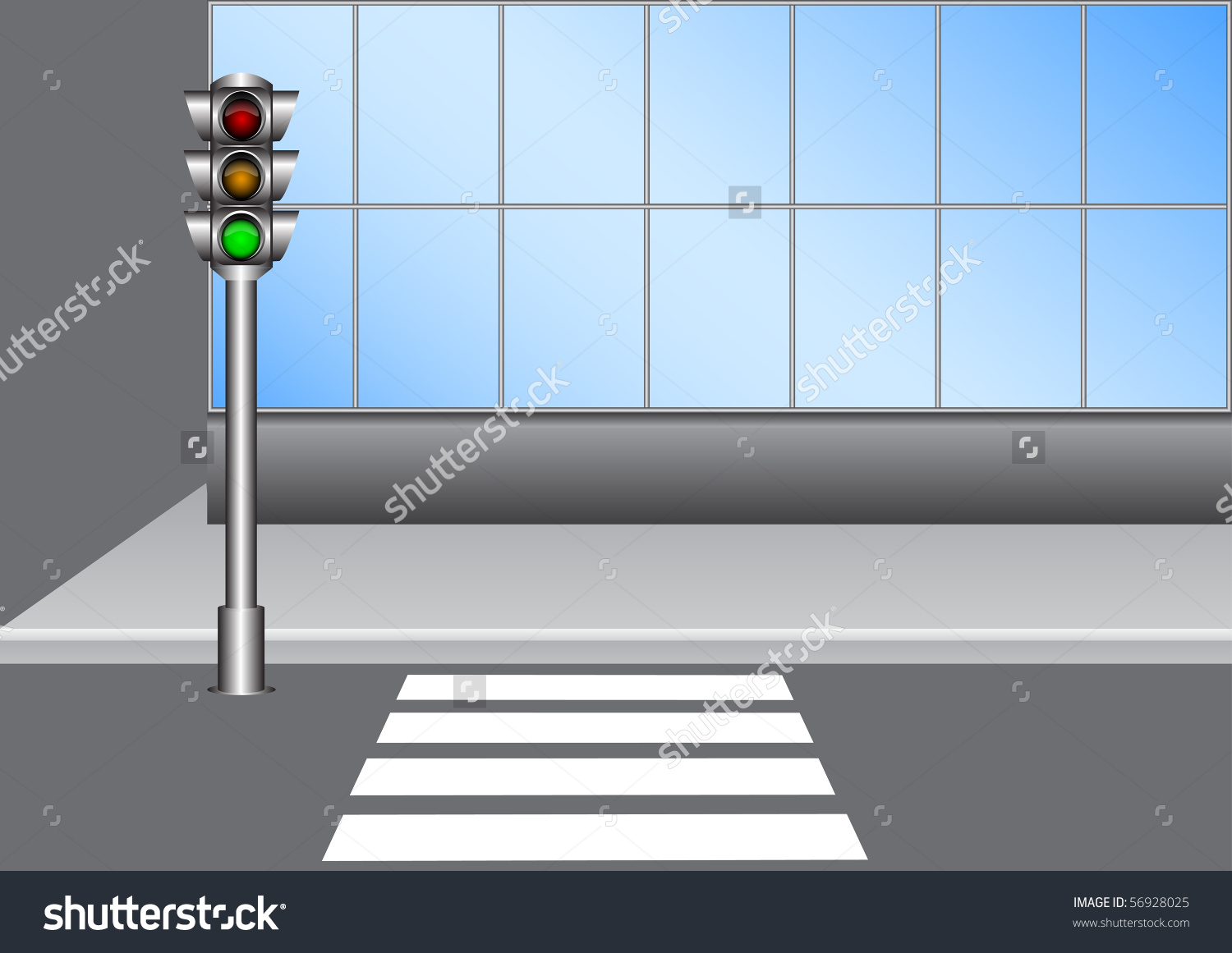 Illustration Urban Traffic Light On Street Stock Vector 56928025.
