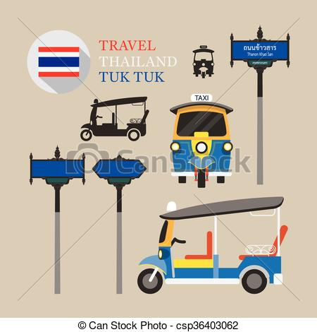 Clip Art Vector of Thailand Tuk Tuk and Side.