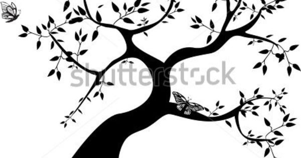 Side Tree Clipart Black And White.