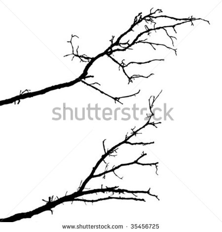Black Tree Branches That Grow To The Side Clipart.