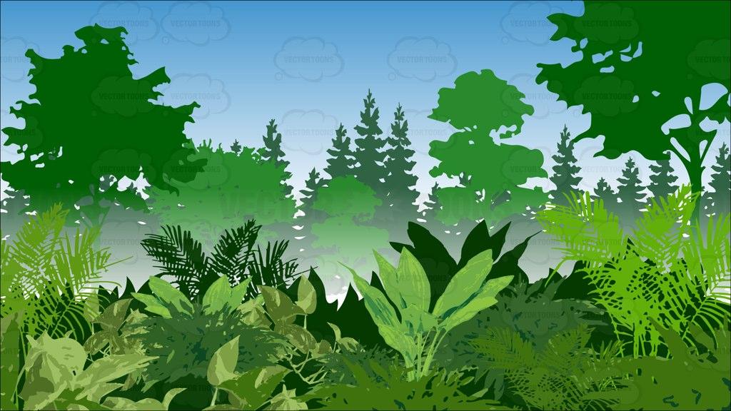 Lush Green Jungle Background Cartoon Clipart.