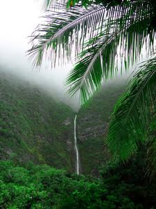 Hawaii Waterfall Photo Clipart Image.