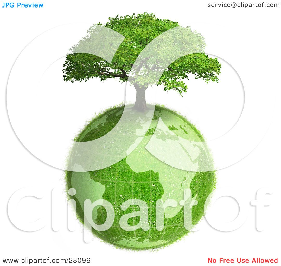 Clipart Illustration of a Lush Green Tree Growing On Top Of The.