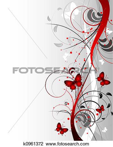 Clip Art of Floral sidebar k0961372.