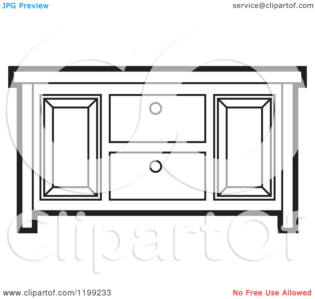Clipart of a Black and White Sideboard Cabinet.