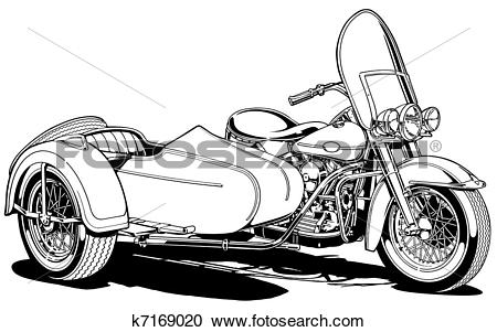 Stock Illustrations of Vintage Motorcycle with Side Car k7169020.