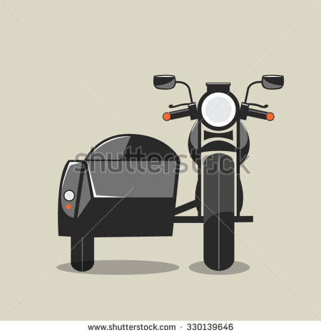 Motorcycle sidecar clipart.