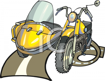 Motorcycle with a Sidecar Clipart.