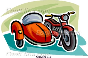 motorcycle with a sidecar Vector Clip art.
