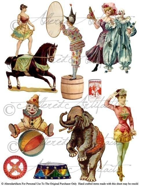 Side Show Clowns for your Puppet Theater Digital Collage Sheet.