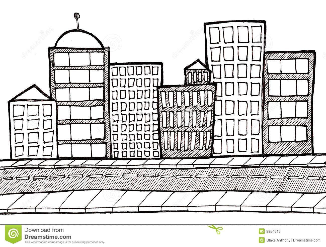 Cityscape Street And Sidewalk Stock Illustration.