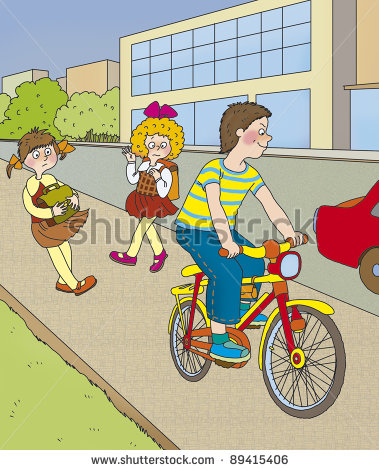 Biking on sidewalk clipart.