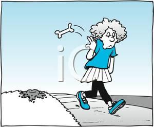 Girl Walking Down a Sidewalk Tossing a Dog Bone Over Her Shoulder.