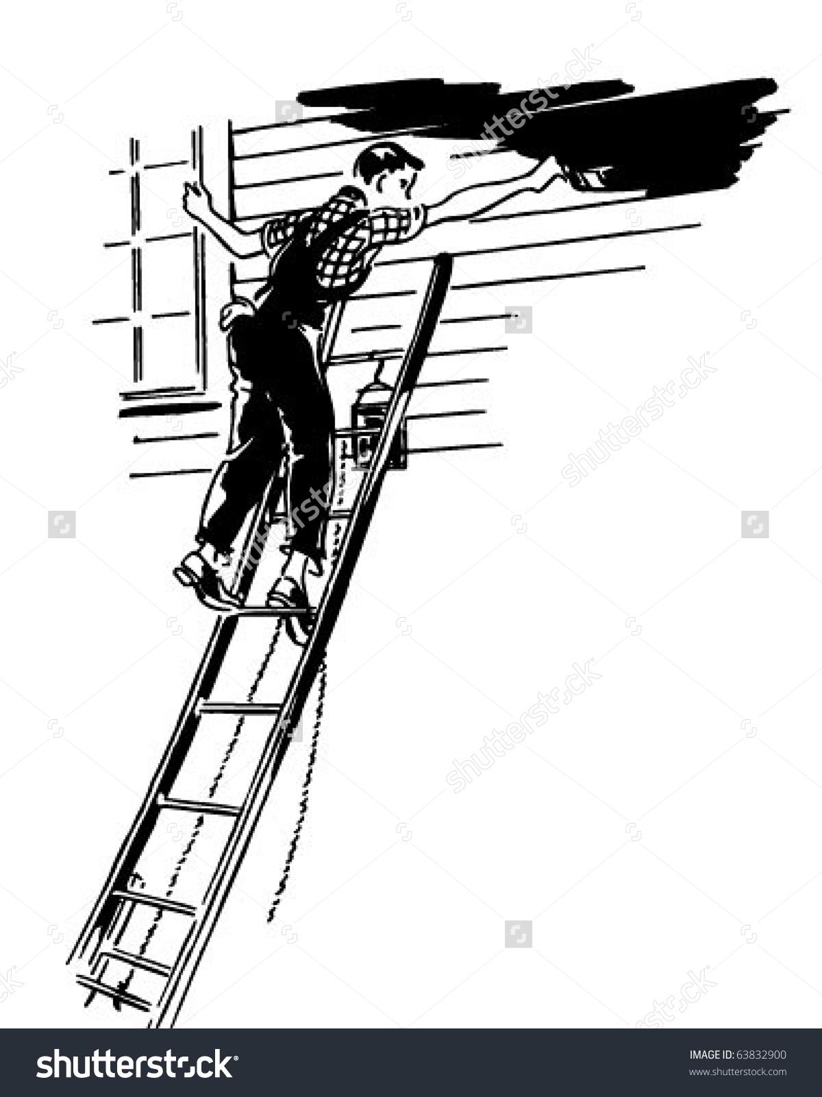 Man Painting Retro Clipart Illustration Stock Vector 63832900.