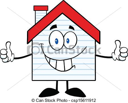 Vector Clip Art of Smiling House With New Siding.