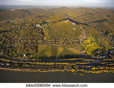 "Stock Photo of ""Aerial view, autumn on the Rhine River, Schloss."