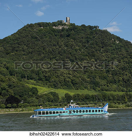 Stock Photo of View over the Rhine on Mt. Drachenfels with and.