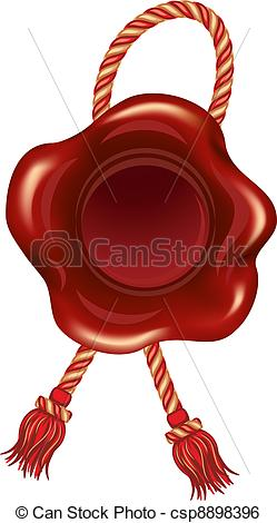 Clip Art Vector of Wax seal with beautiful cord csp8898396.