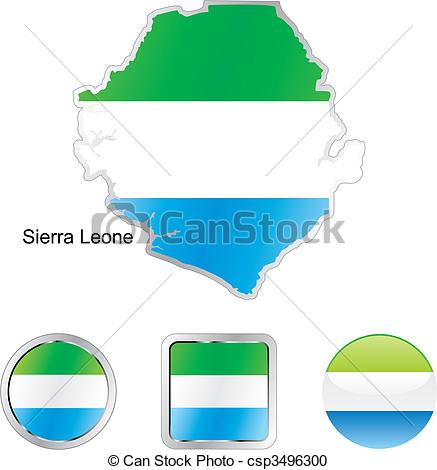 Vector Clipart of flag of sierra leone in map and web buttons.