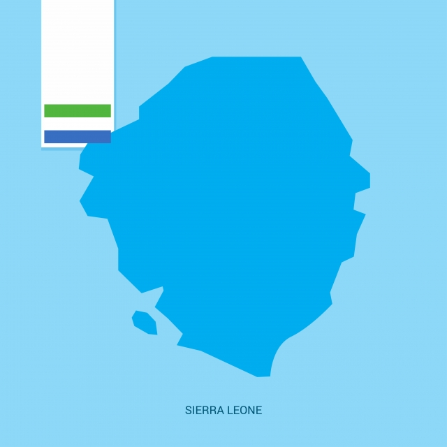 Sierra Leone Country Map With Flag Over Blue Background, 27.