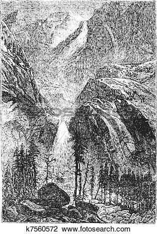 Clipart of Yosemite Falls in Sierra Nevada California United.