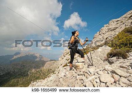 Stock Photograph of walking in the Puig de Massanella, 1365 meters.