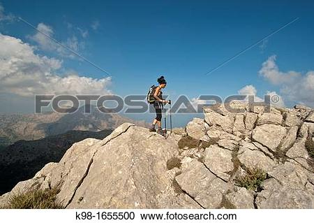 Stock Photography of walking in the Puig de Massanella, 1365.