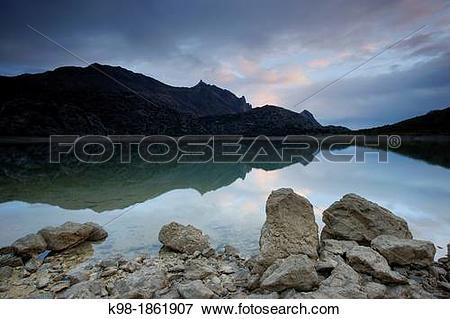 Picture of Cuber Reservoir and Puig Major 1436m Escorca Sierra de.