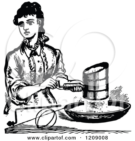 Clipart of a Vintage Black and White Lady Sifting Flour.
