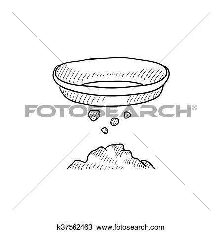 Clipart of Bowl for sifting gold sketch icon. k37562463.