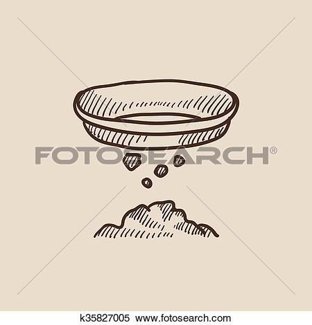 Clipart of Bowl for sifting gold sketch icon. k35827005.