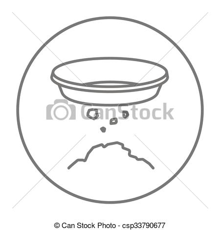 Vectors Illustration of Bowl for sifting gold line icon..