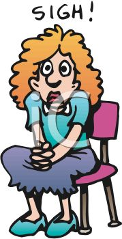 Cartoon of a Lonely Woman Sighing in a Chair.