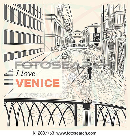 Clipart of vector sketch of a landscape the Bridge of Sighs in.