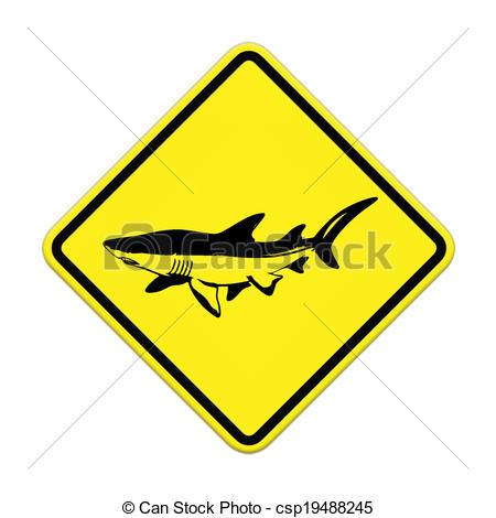 Drawing of Shark sighting sign, Beach Closed csp19488245.