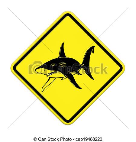 Clip Art of Shark sighting sign, Beach Closed csp19488220.